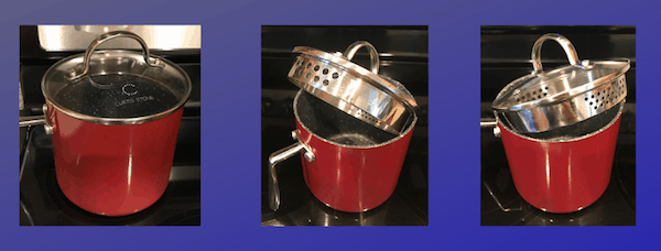 Red pot with strainer lid