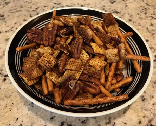 Gluten-free Chex party mix in a bowl