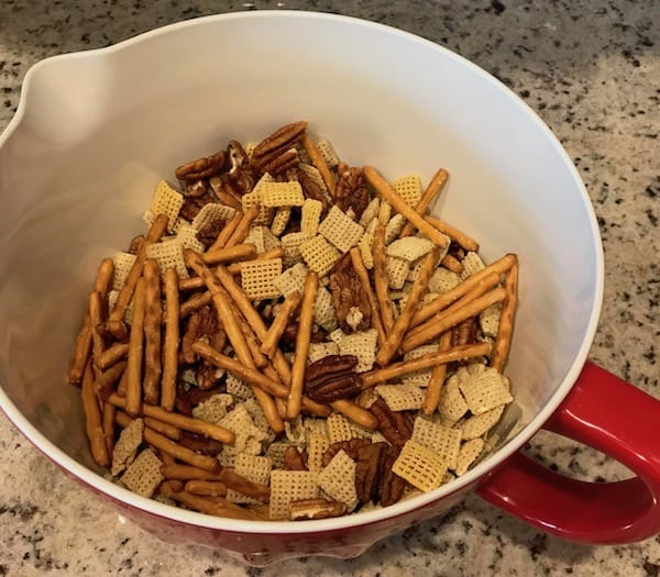 Chex party mix in a bowl