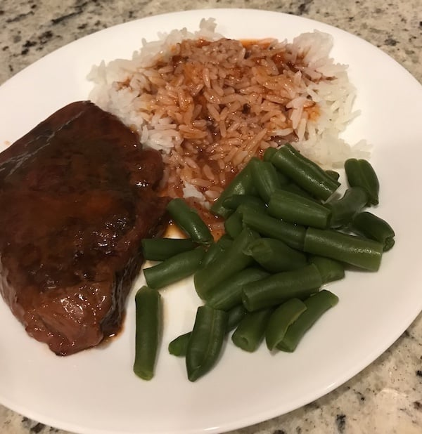 Swiss steak, rice, and green beans