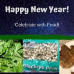 New Year banner with turnip greens, black-eye peas, and pork chops