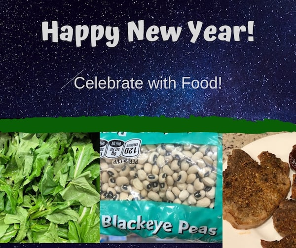 New Year banner with turnip greens, black-eye peas, and pork chops