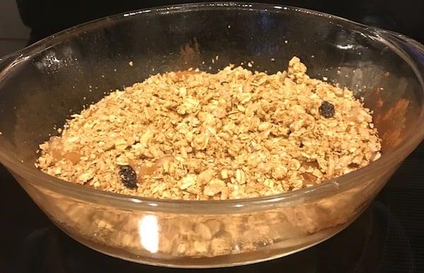 Granola fruit crisp in the casserole dish