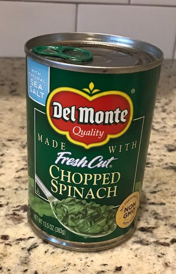 Can of chopped spinach