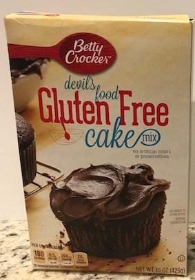 Box of gluten-free chocolate cake mix