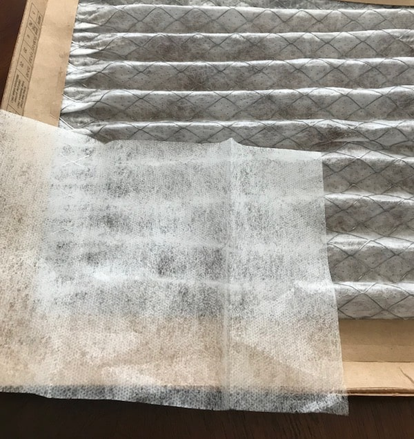 Dryer sheet  on an air conditioner and furnace filter