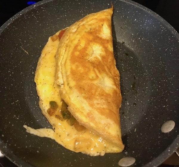 Omelet folded over on itself