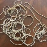 Pile of rubber bands on a table