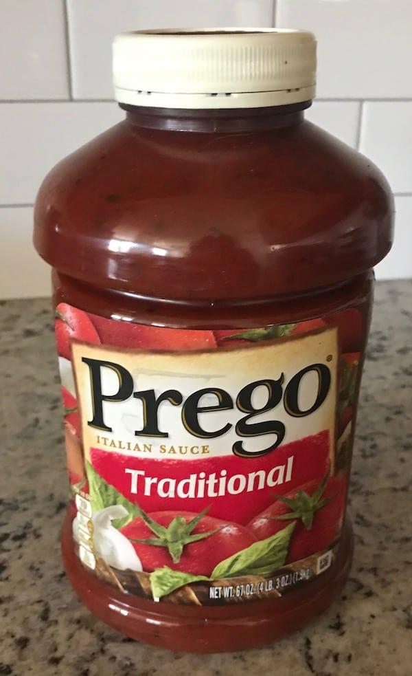 Large jar of prepared Italian sauce