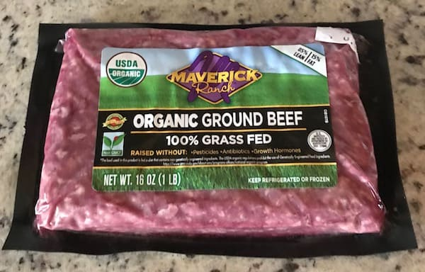 Package of organic, grass-fed ground beef