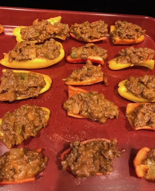 Mini peppers stuffed with Italian meat and cheese sauce
