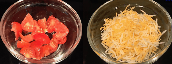 Diced tomatoes and shredded cheese in small bowls
