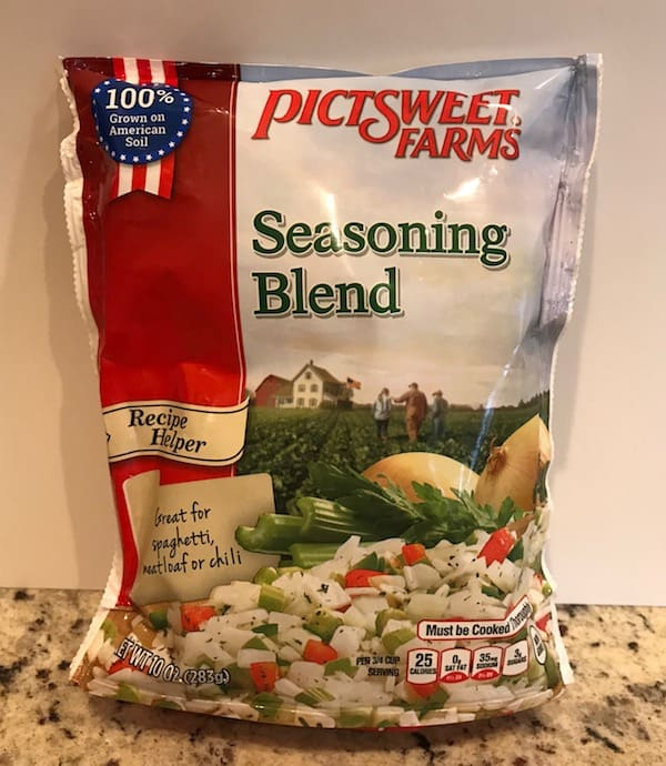Bag of frozen seasoning blend with chopped onions, green peppers, and red peppers