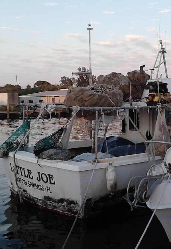"""Sponge boat named """"Little Joe"""" on the water at the Tarpon Springs Sponge Docks"""