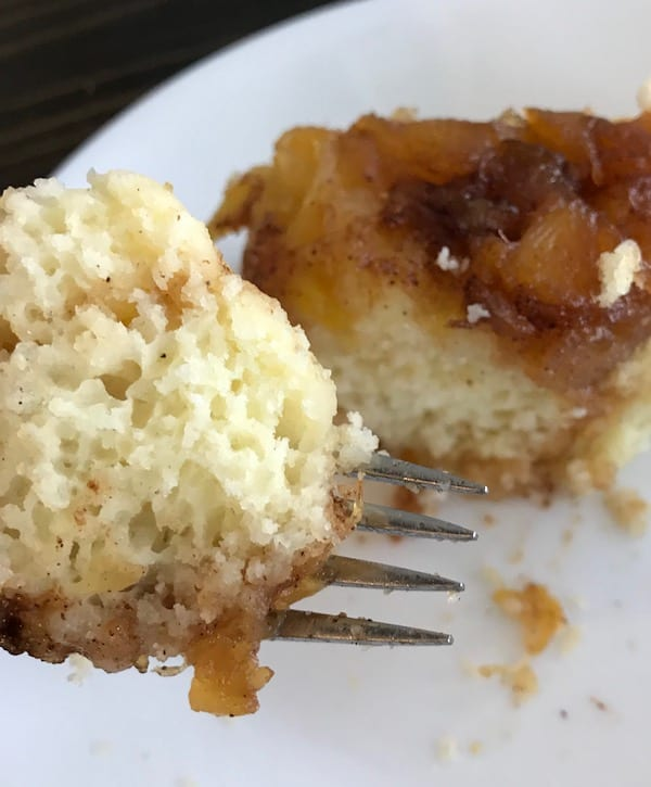 Fork of pineapple upside down cake made in the rice cooker