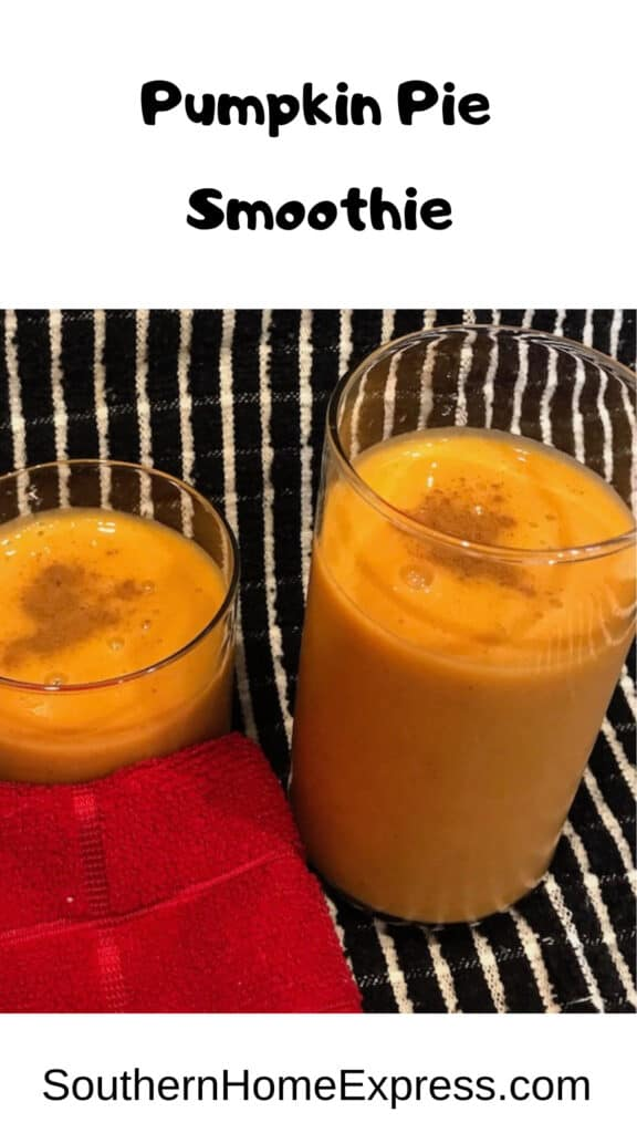 Tall and short clear glasses with pumpkin pie smoothies sprinkled with cinnamon