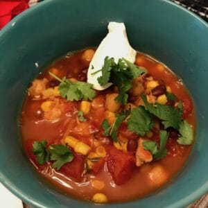 Instant Pot Taco Soup with sour cream and cilantro
