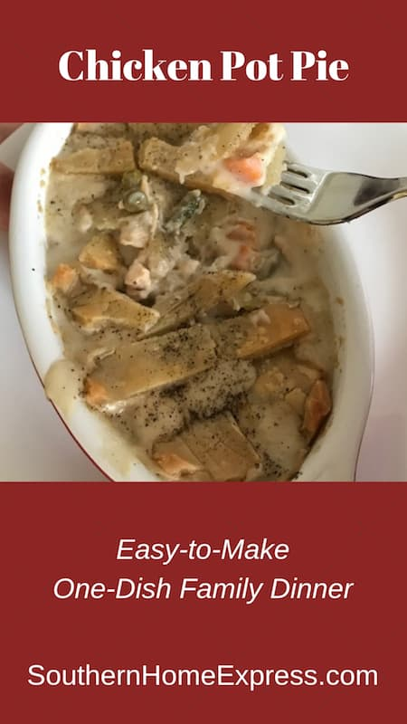 Chicken pot pie is an easy-to-make one-dish meal that the entire family will enjoy.