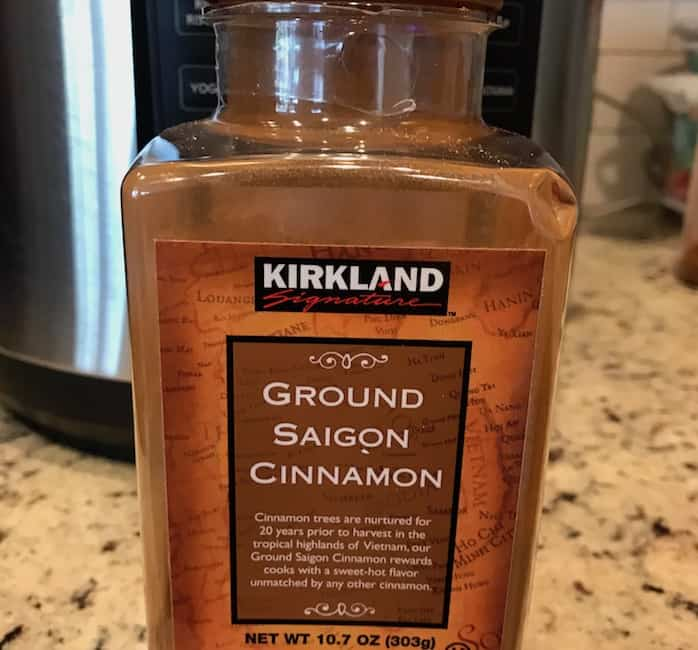 Container of ground cinnamon