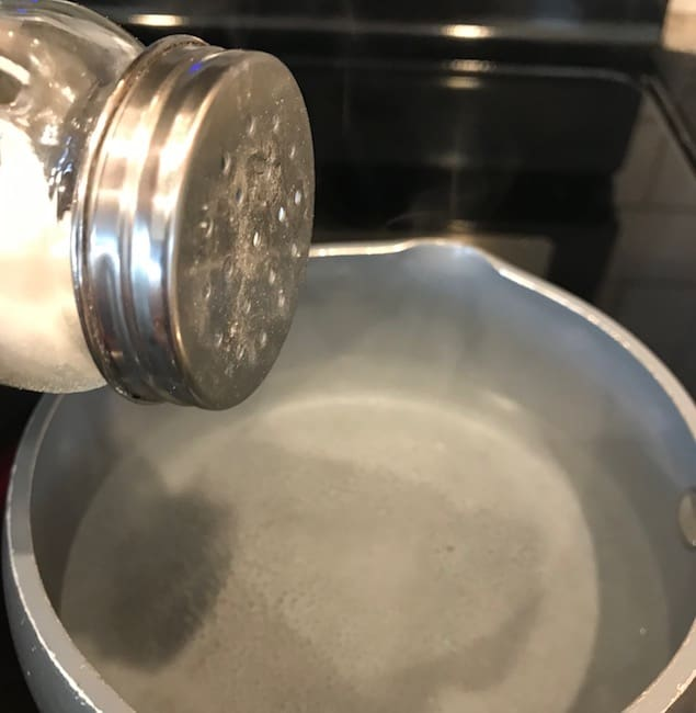 Salt shaker over boiling water.