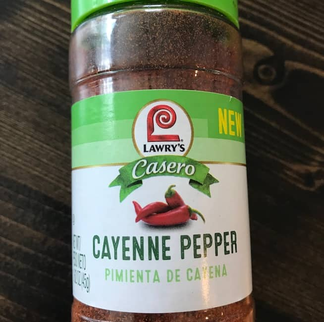 Container of ground cayenne pepper