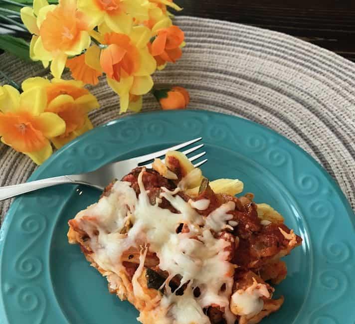 Delicious Italian chicken zucchini penne casserole.