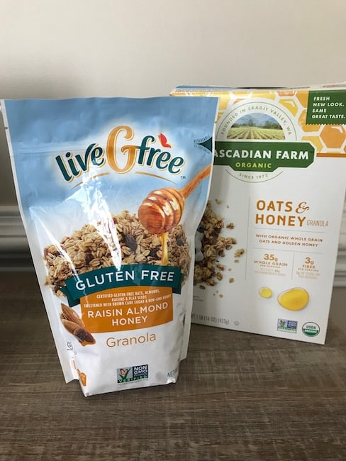 You can use either regular or gluten-free granola in your fruit and yogurt parfaits.