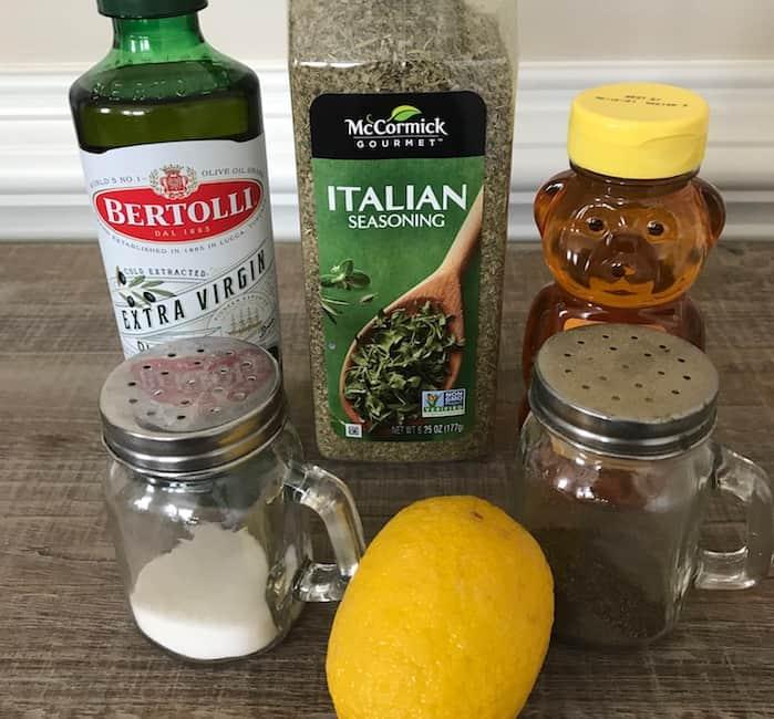 Olive oil, honey, lemon juice, Italian seasoning, salt, and pepper make a delicious salad dressing.