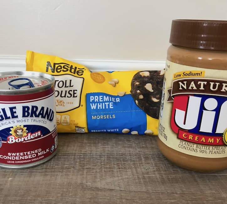 Peanut butter, sweetened condensed milk, and white chocolate morsels