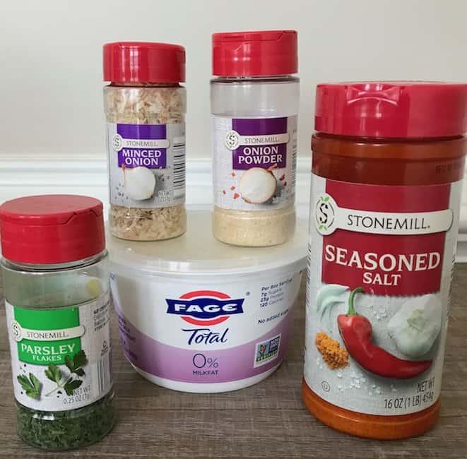 Ingredients include seasoned salt, parsley flakes, minced onion, onion powder, and Greek yogurt.