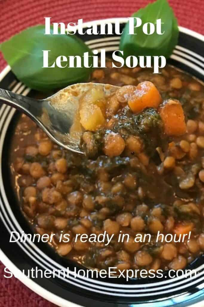 Dinner can be ready in less than an hour when you make Instant Pot lentil soup.