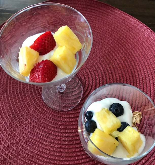 Add a layer of bite-size fruit on top of the yogurt.