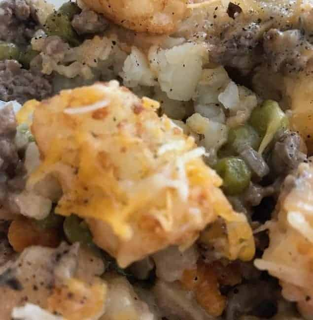 Ground beef tater tot casserole with cheese