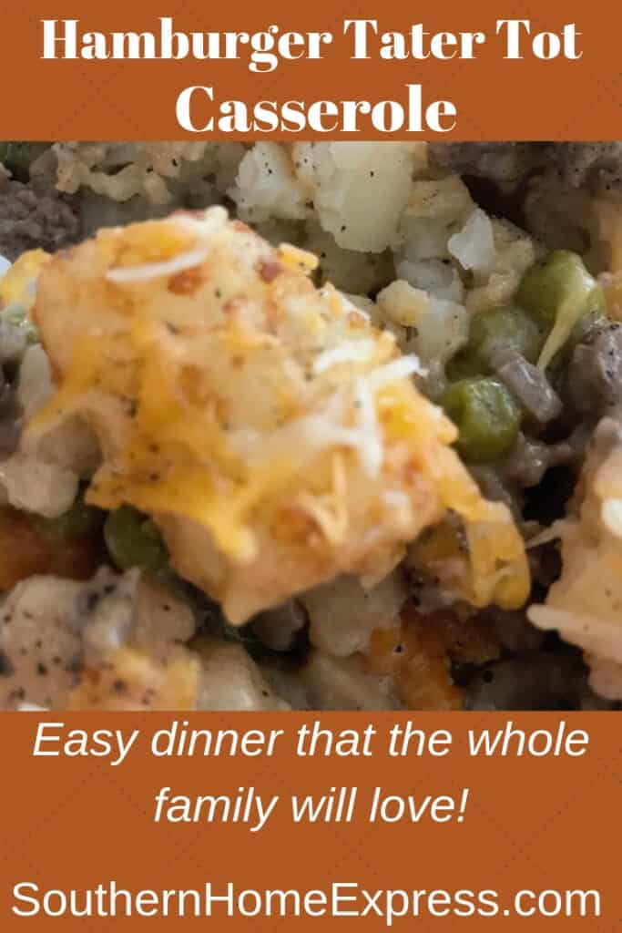 Scooping up a bite of this ground beef tater tot casserole covered in cheese.