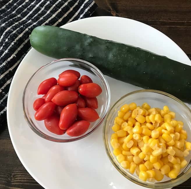 Tomatoes, cucumber, and corn are great in a salad.