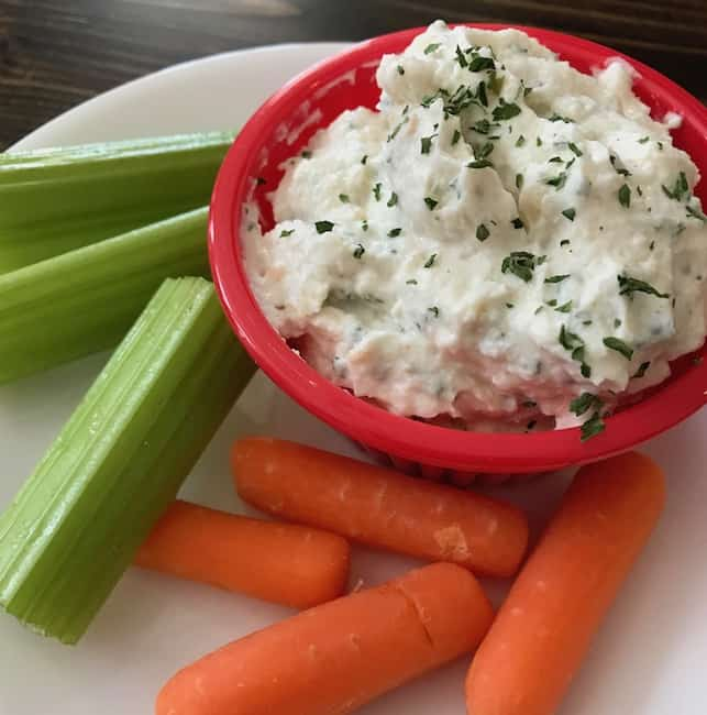 Greek yogurt onion dip is perfect for dipping vegetables.
