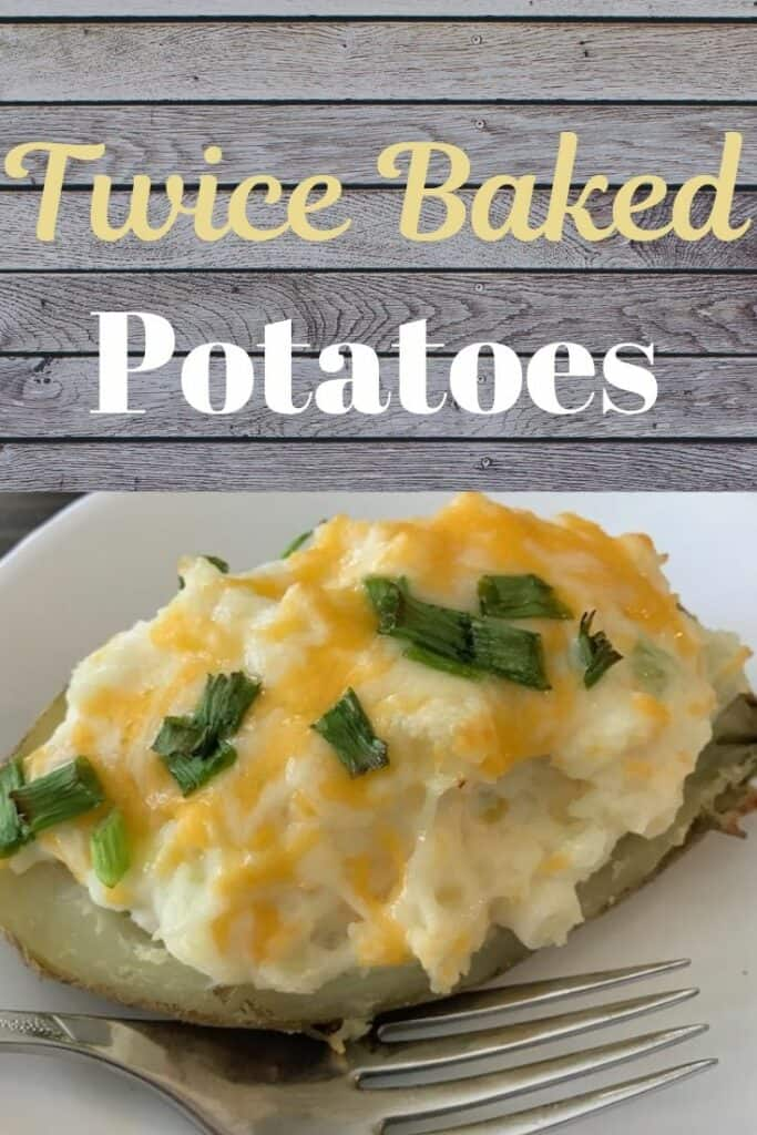 Twice baked potatoes with melted cheese and green onions.