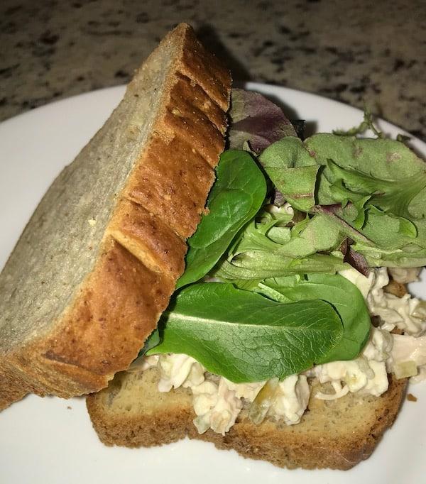A great school lunchbox idea is a chicken salad sandwich